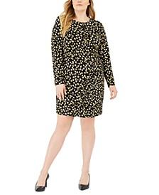 Plus Size Printed Ruffle-Trim Sheath Dress