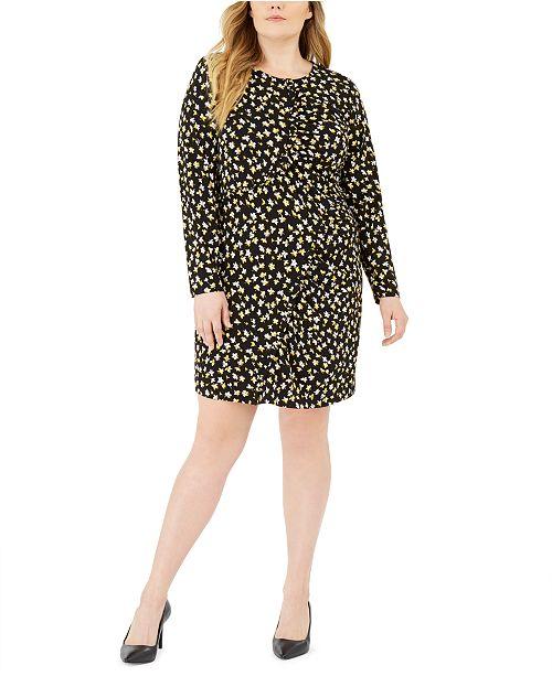 Michael Kors Plus Size Printed Ruffle-Trim Sheath Dress