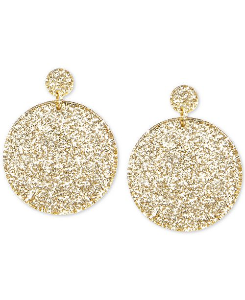 Zenzii Gold-Tone Glitter Resin Circle Drop Earrings