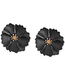 18k Gold-Plated Suede-Painted Flower Stud Earrings