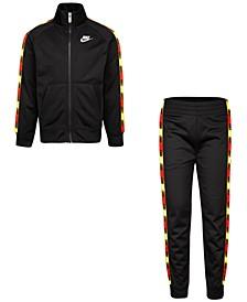 Little Boys 2-Pc. Logo-Tape-Trim Jacket & Jogger Pants Set