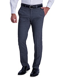 Men's Slim-Fit Stretch Heathered Glen Plaid Dress Pants