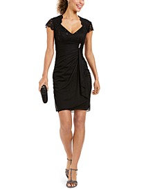 Petite Lace-Sleeve Sheath Dress