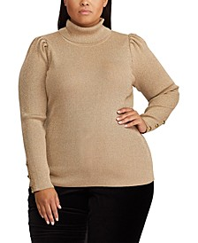 Plus Size Puff-Sleeve Turtleneck Sweater