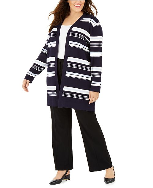 Calvin Klein Plus Size Striped Long Cardigan