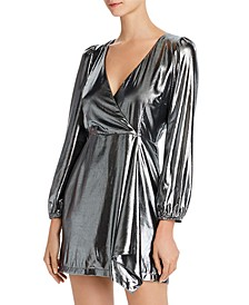Metallic Faux-Wrap Mini Dress