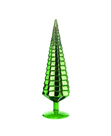 Glass Green Christmas Metallic Tree