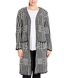 Plus Size Plaid Hooded Coatigan