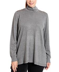 Grommet-Trim Turtleneck Sweater