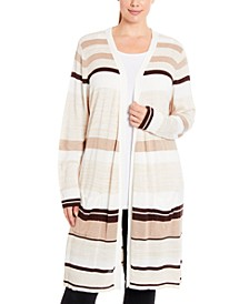 Plus Size Striped Duster Cardigan