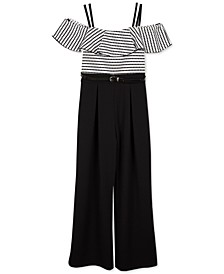 Big Girls Cold-Shoulder Belted Jumpsuit