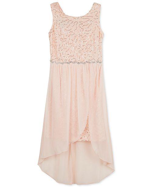 BCX Big Girls Sequin High-Low Hem Dress