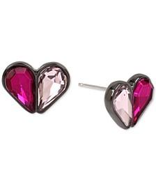 Hematite-Tone Crystal Heart Stud Earrings
