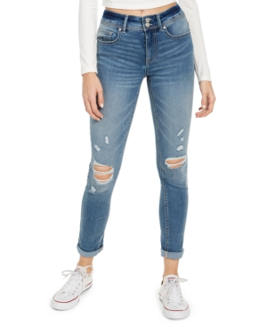Indigo Rein Juniors' Double-Button Cuffed Skinny Jeans
