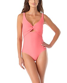 Textured Twist-Front One-Piece Swimsuit