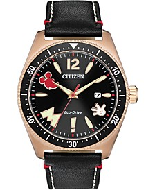 Eco-Drive Men's Classic Black Leather Strap Watch 43mm