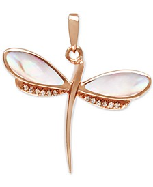 "Mother-of-Pearl & White Sapphire (1/3 ct. t.w.) Dragonfly 21"" Pendant Necklace in Rose Gold-Plated Sterling Silver"
