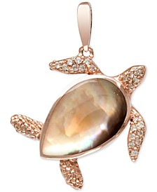 "Mother-of-Pearl & White Sapphire (1/5 ct. t.w.) Turtle 21"" Pendant Necklace in Rose Gold-Plated Sterling Silver"