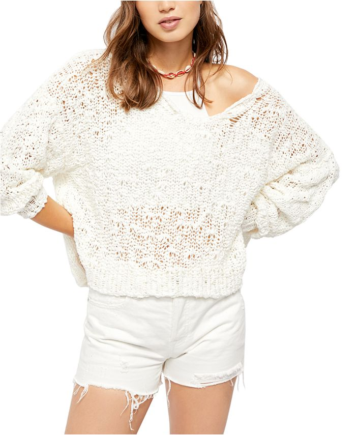 Free People - Sunday Shore Loose-Knit Drop-Sleeve Sweater