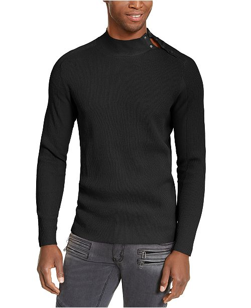 INC International Concepts INC Men's Ribbed Button Neck Sweater, Created for Macy's