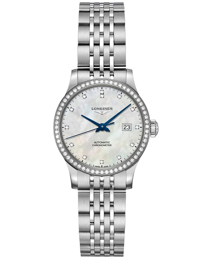 Longines - Women's Swiss Automatic Record Collection Diamond (1/2 ct. t.w.) Stainless Steel Bracelet Watch 30mm