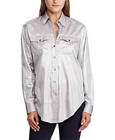 Petite Metallic Patch-Pocket Shirt