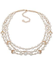 "Gold-Tone Pavé & Imitation Pearl Triple-Row Necklace, 16"" + 3"" extender"