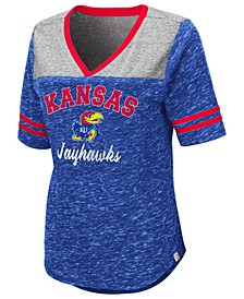Women's Kansas Jayhawks Mr Big V-neck T-Shirt
