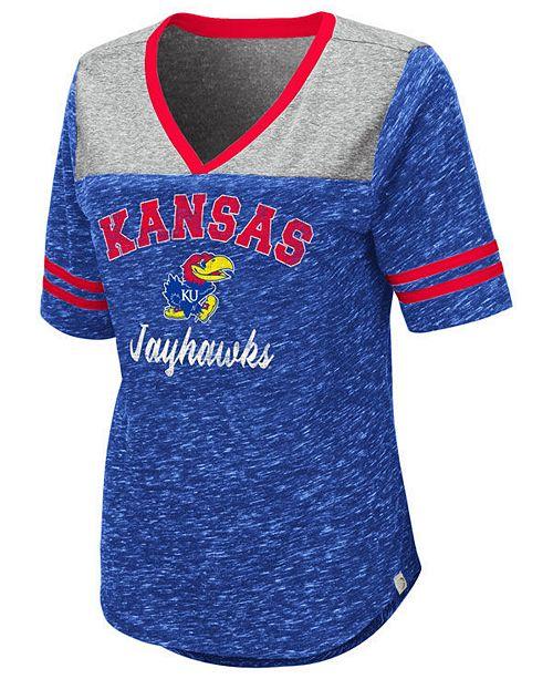 Colosseum Women's Kansas Jayhawks Mr Big V-neck T-Shirt