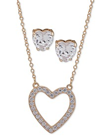"Gold-Tone Crystal Heart Pendant Necklace & Stud Earrings Set, 16"" + 3"" extender"