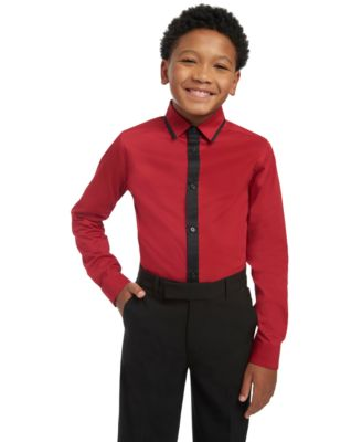 Big Boys Slim-Fit Stretch Contrast Placket Dress Shirt