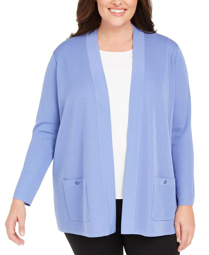 Anne Klein - Plus Size Open-Front Patch-Pocket Cardigan