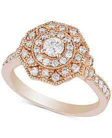 Diamond Floral Design Statement Ring (3/4 ct. t.w.) in 14k Rose Gold