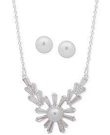 """Silver-Tone Trillion-Crystal and Imitation Pearl Statement Necklace & Stud Earrings Set, 16"""" + 3"""" extender"""