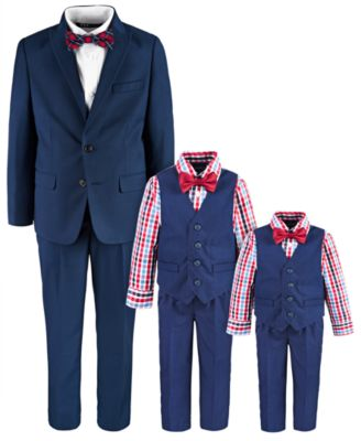 Toddler Boys 4-Pc. Check-Print Shirt, Vest, Pants & Bowtie Set