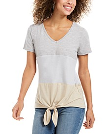 Colorblocked Mixed-Media Tie-Front Top, Created For Macy's