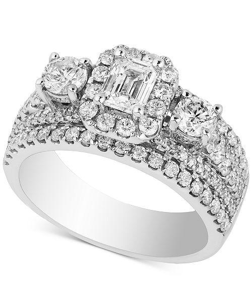 Macy S Diamond Triple Design Bridal Ring 2 Ct T W In 14k White