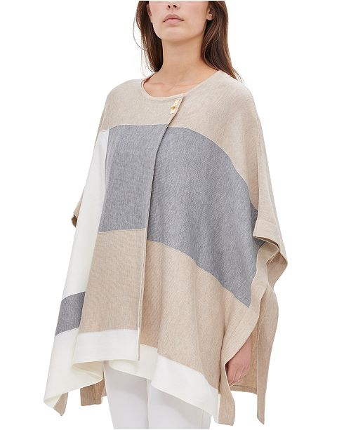 Calvin Klein Colorblocked Poncho