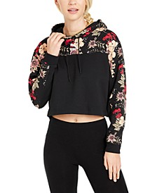 Cotton Floral Colorblocked Hoodie