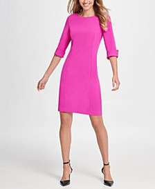 Button Cuff Elbow Sleeve Sheath Dress