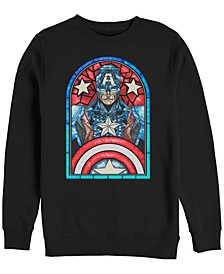 Men's Classic Captain America Stained Glass Window, Crewneck Fleece