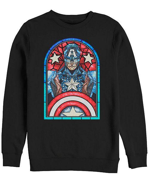 Marvel Men's Classic Captain America Stained Glass Window, Crewneck Fleece