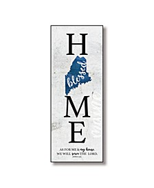 "Maine Home-Blessed Wood Wall Plaque with Hanger, 5.5"" x 12"""