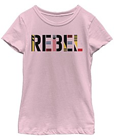 Big Girls Rebel Pattern Text Short Sleeve T-Shirt