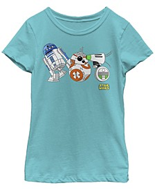 Big Girls Cartoon R2-D2 BB-8 D-O Droid Lineup Short Sleeve T-Shirt