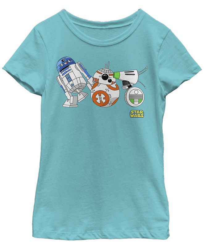 Star Wars Big Girls Cartoon R2-D2 BB-8 D-O Droid Lineup Short Sleeve T-Shirt