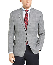 Men's Classic-Fit UltraFlex Black & White Plaid Sport Coat