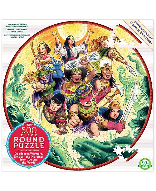 Eeboo Goddesses and Warriors Round Puzzle - 500 Piece