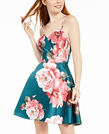 Juniors' Lace-Back Floral-Print Fit & Flare Dress