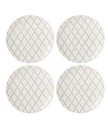 Textured Neutrals Lattice  Dinner Plates Set/4